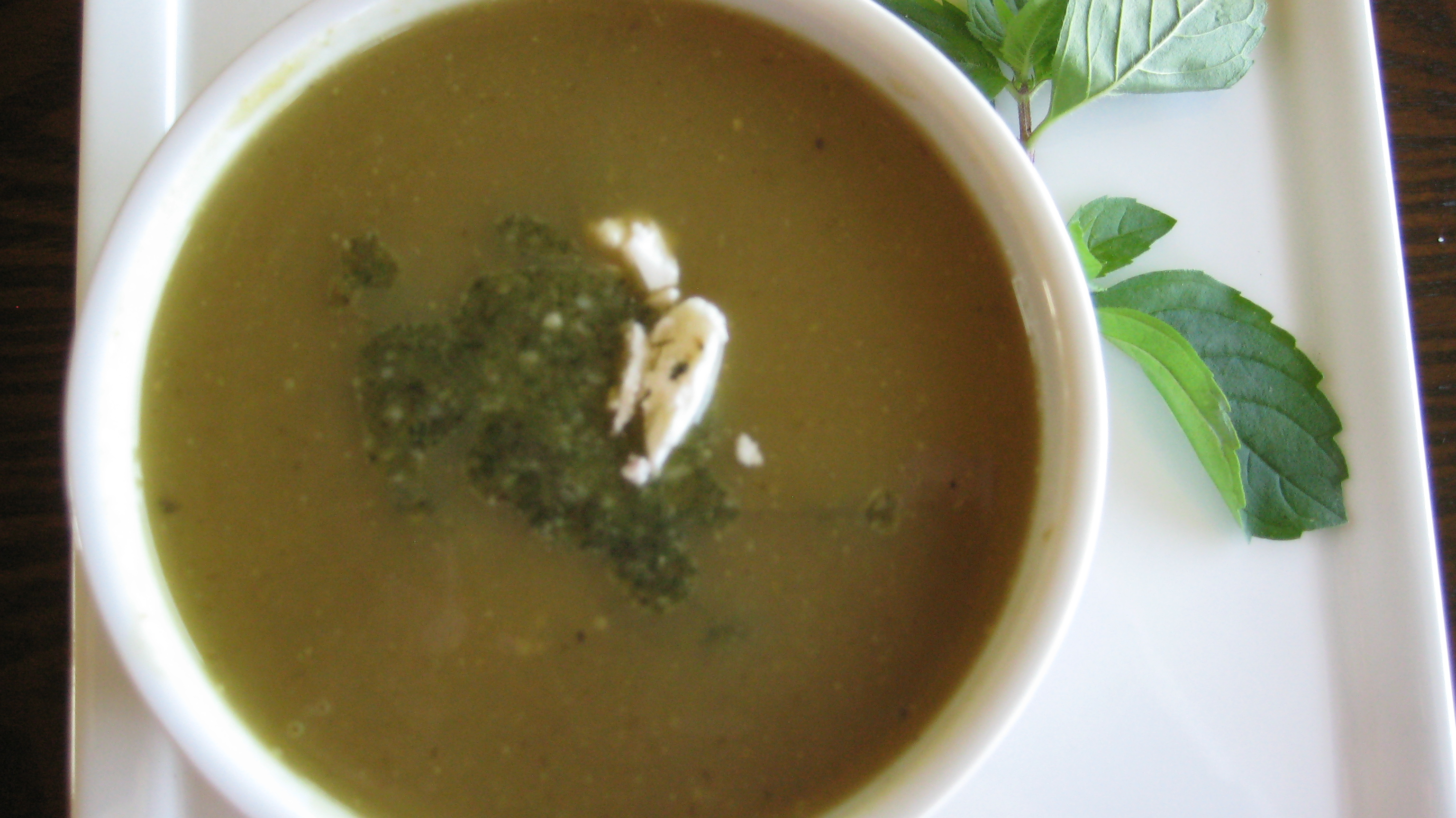 Roasted Green Bean Soup with Rosemary Mint Pesto