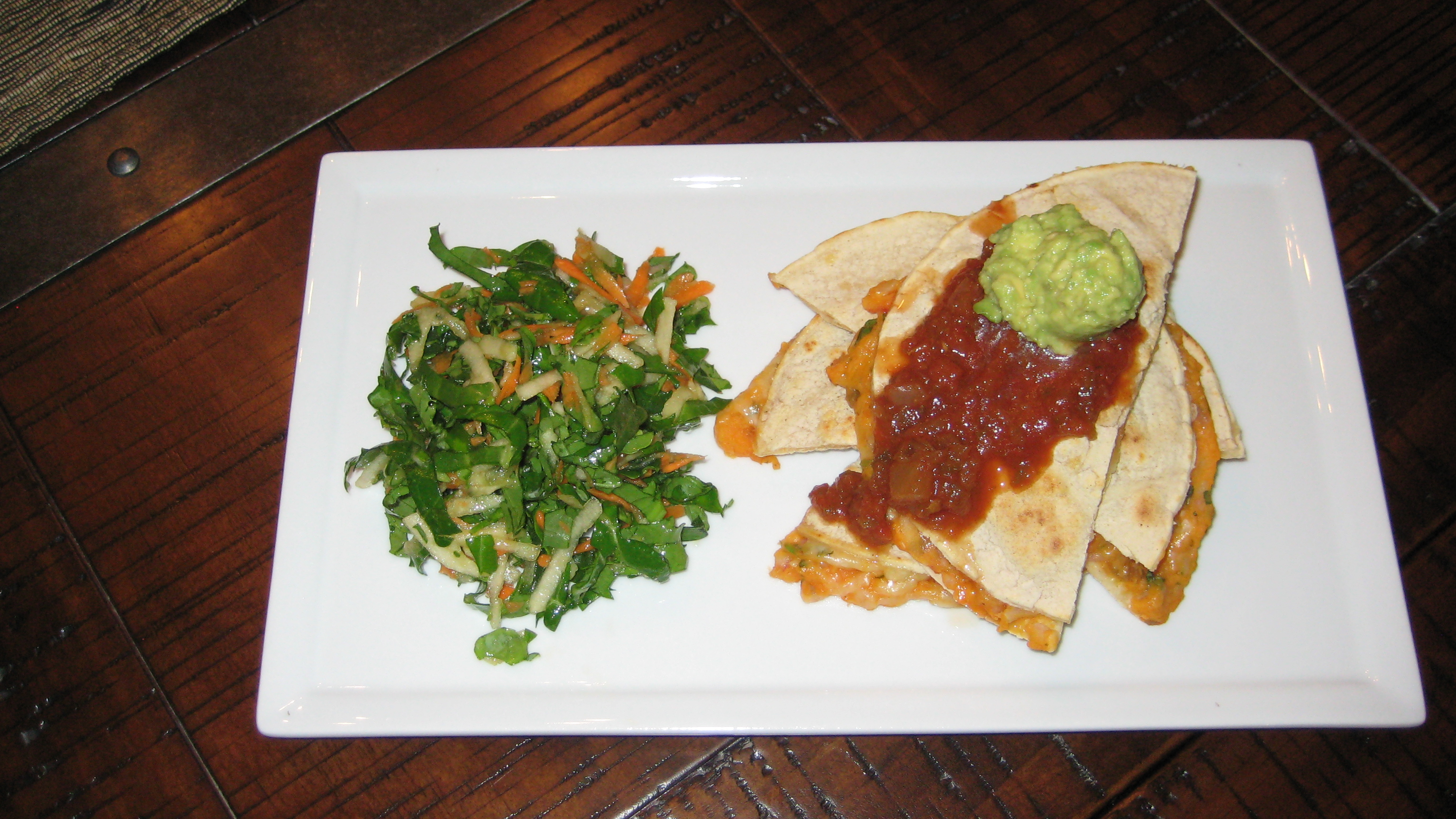 Sweet Potato Quesadillas with Kale Apple Slaw - At My Kitchen Table