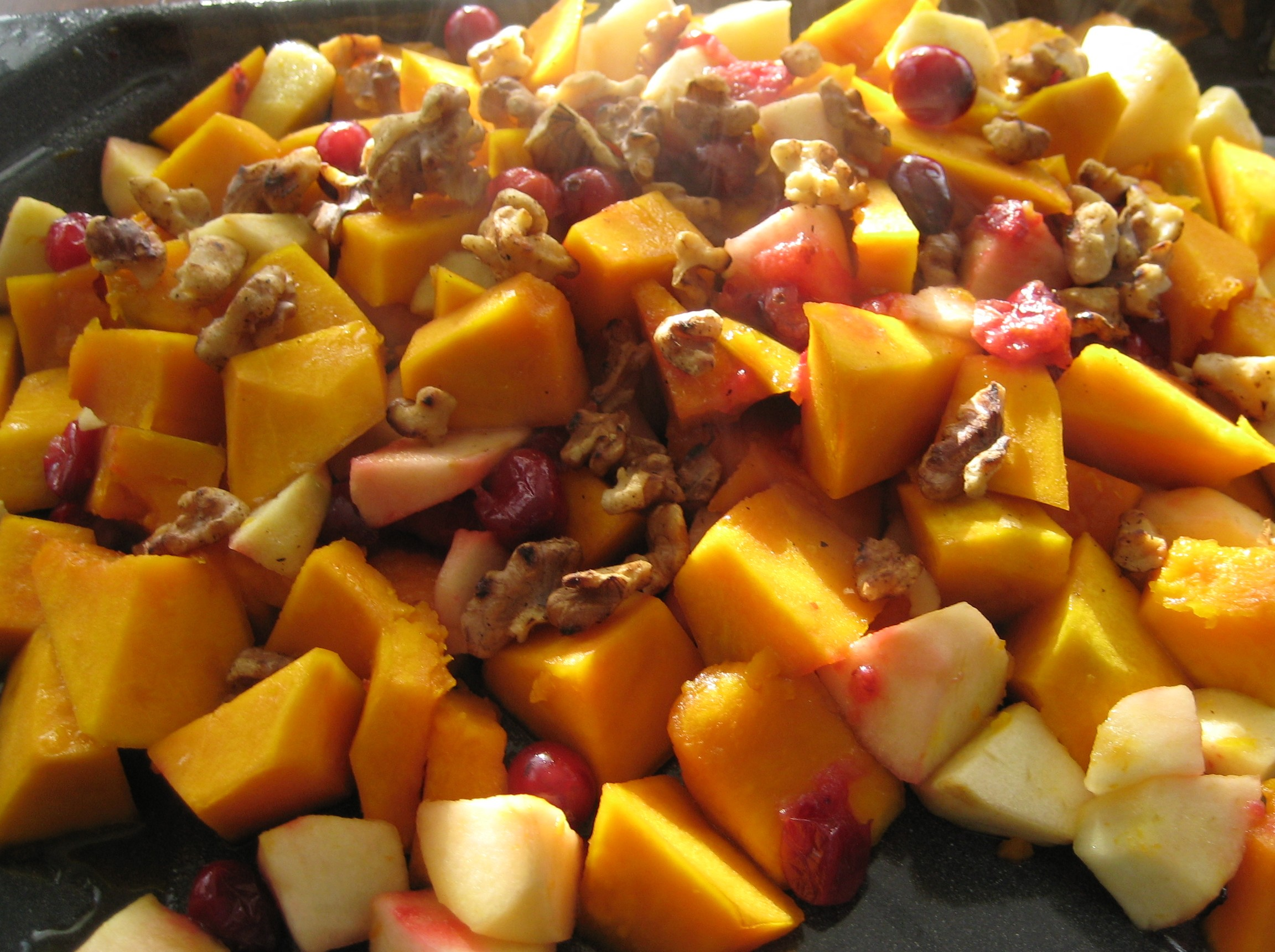 Maple Baked Squash with Apples and Cranberries