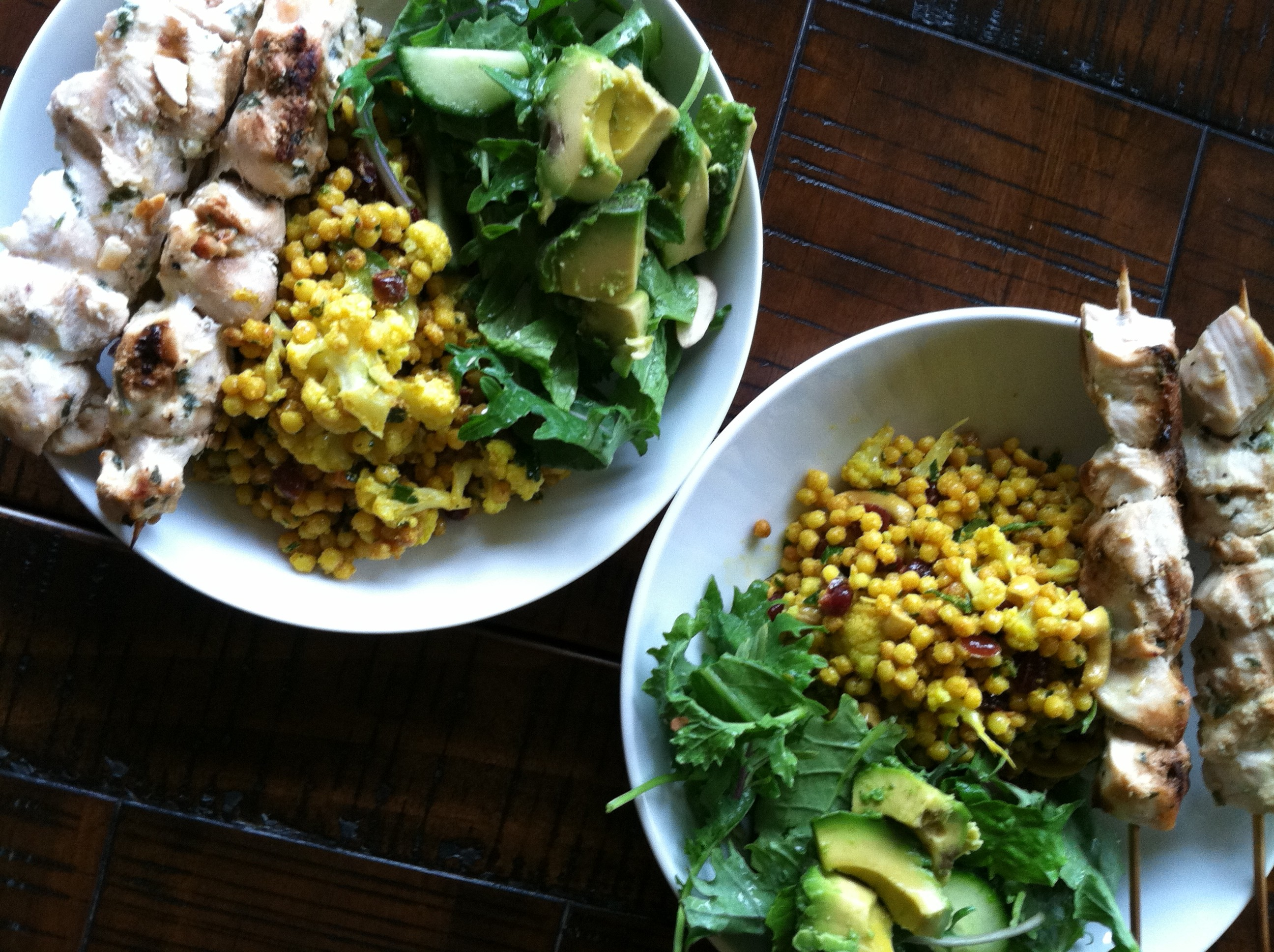 Israeli Cous Cous Salad with Roasted Cauliflower