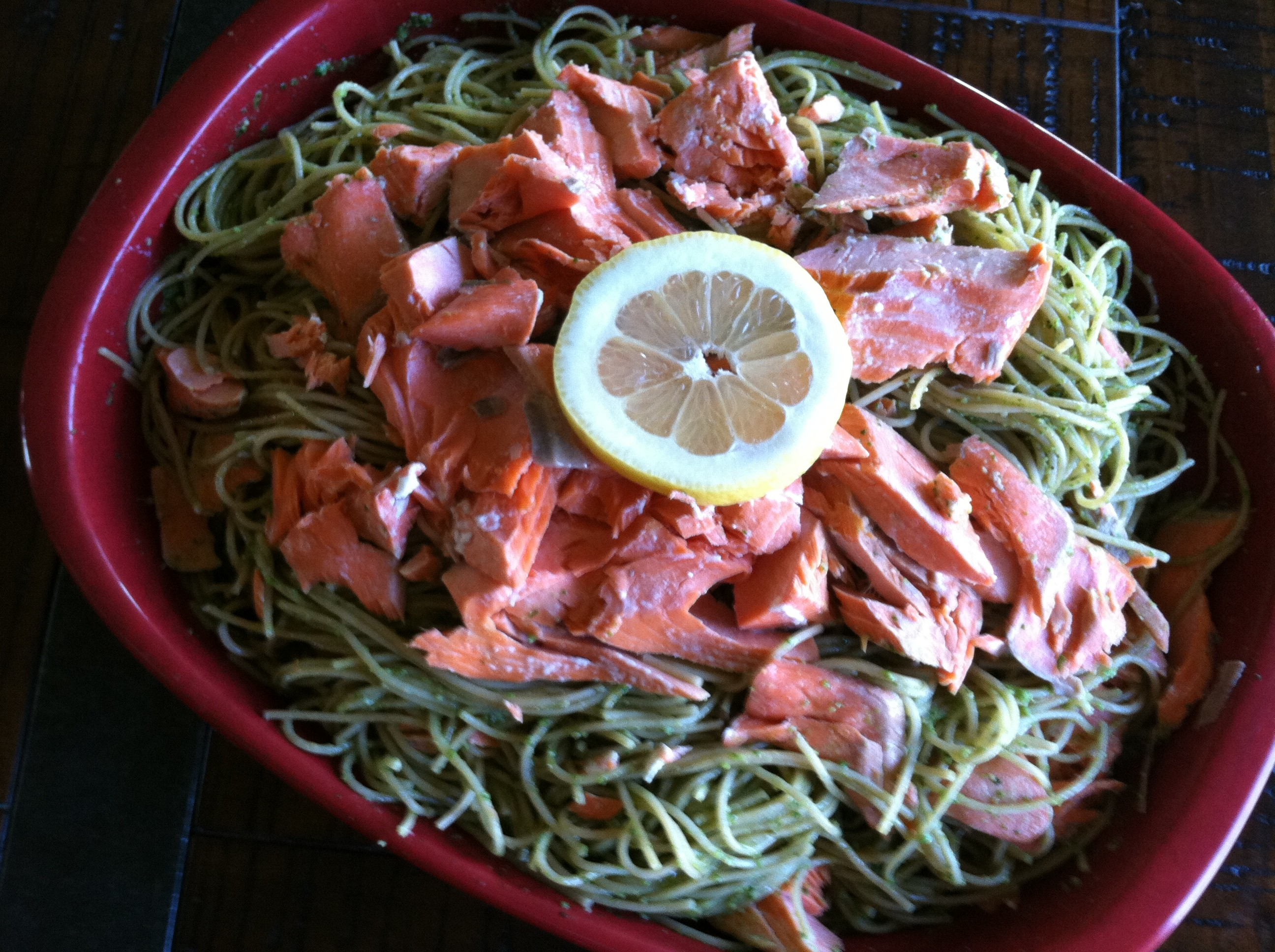 Arugula Pesto with Angel Hair Pasta and Salmon