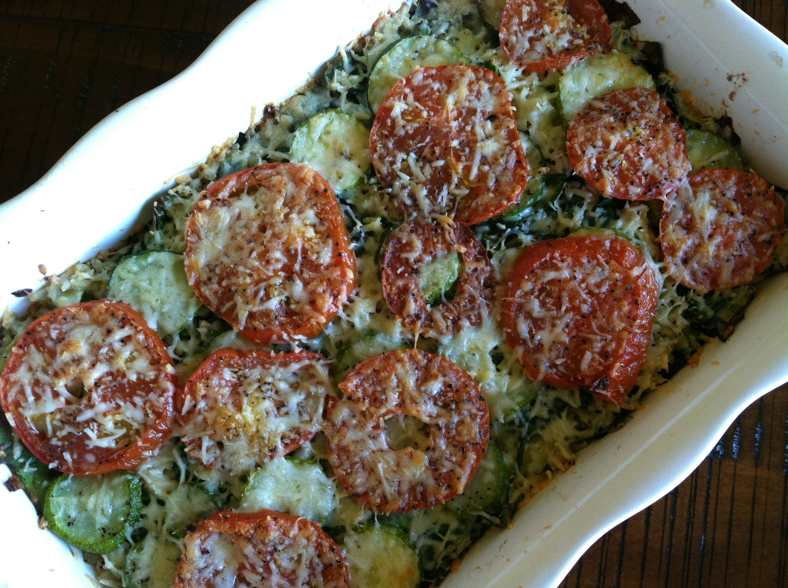Zucchini Rice Gratin with Swiss Chard