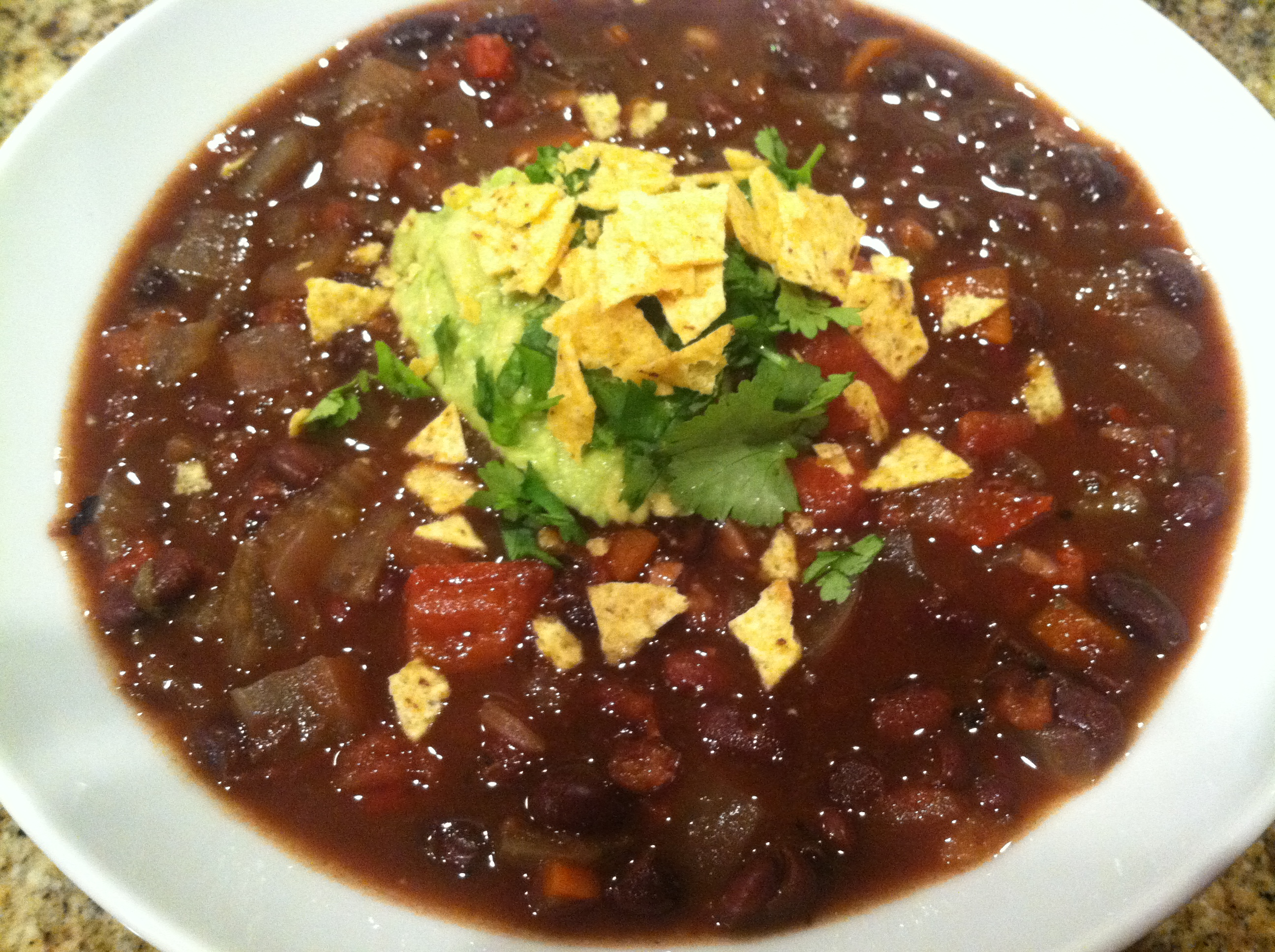 Black Bean Soup with Guacamole