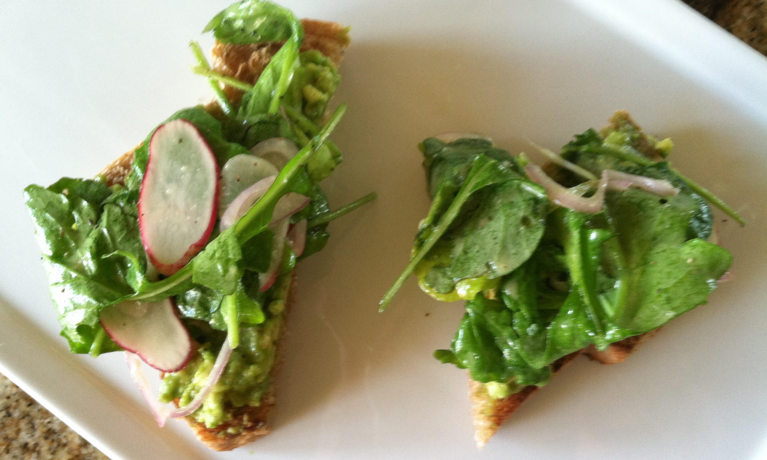 Avocado, Arugula and Radish Toasts
