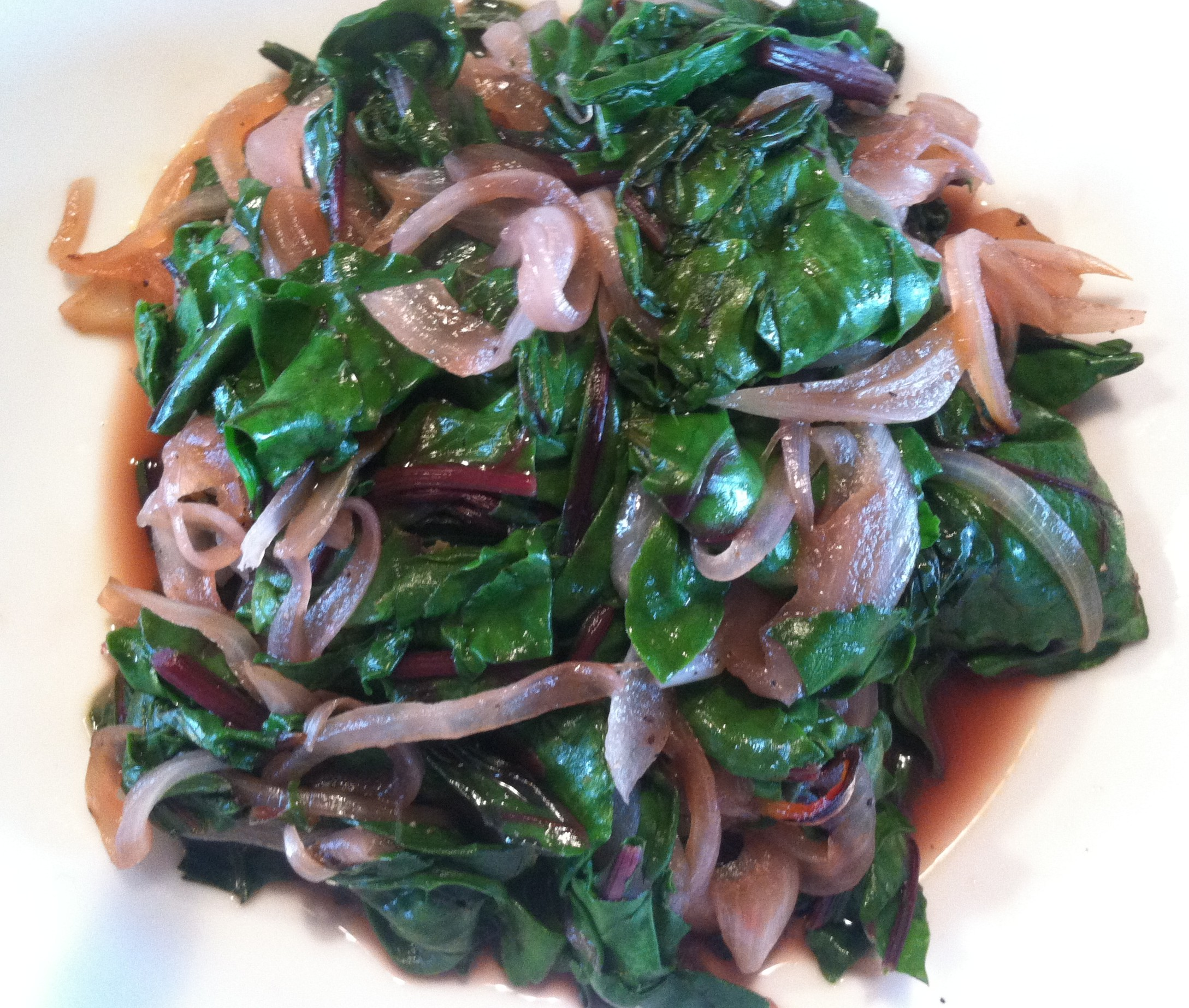 Tender Beet Greens with Caramelized Onions