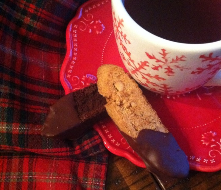 Double Dark Chocolate and Ginger Biscotti - At My Kitchen ...