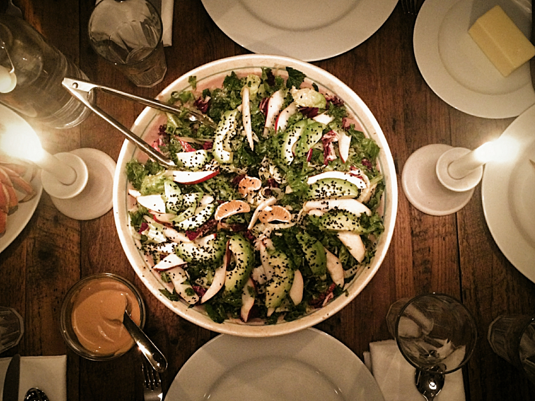 Winter Greens Salad with Tahini Dressing