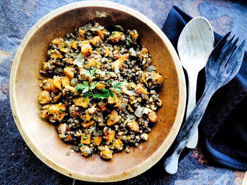 Lentil, Roasted Squash and Walnut Salad