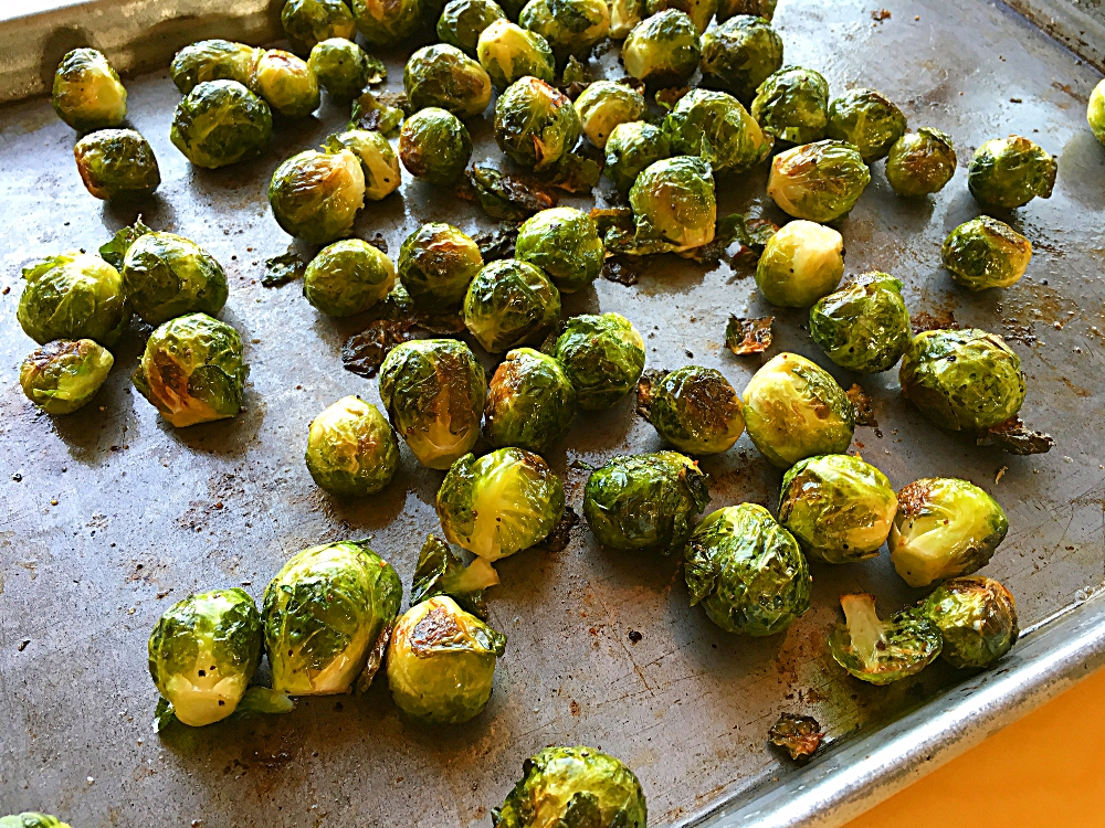 Roasted Brussels Sprouts with Pomegranate and Almonds