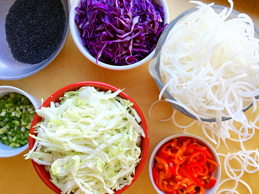 Daikon Radish Noodle Salad with Sesame Ginger Dressing