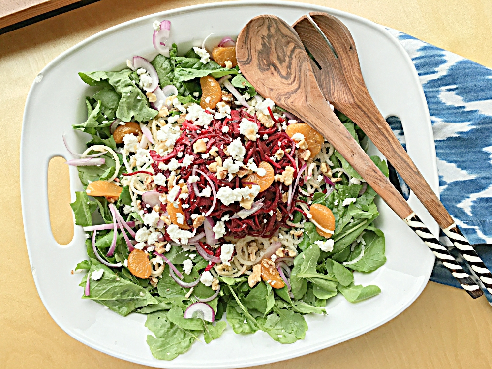 Arugula, Spiralized Beet and Jicama Salad
