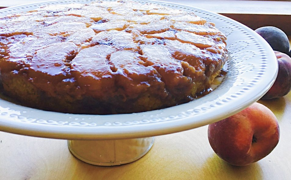 Peach Raspberry Upside Down Cake