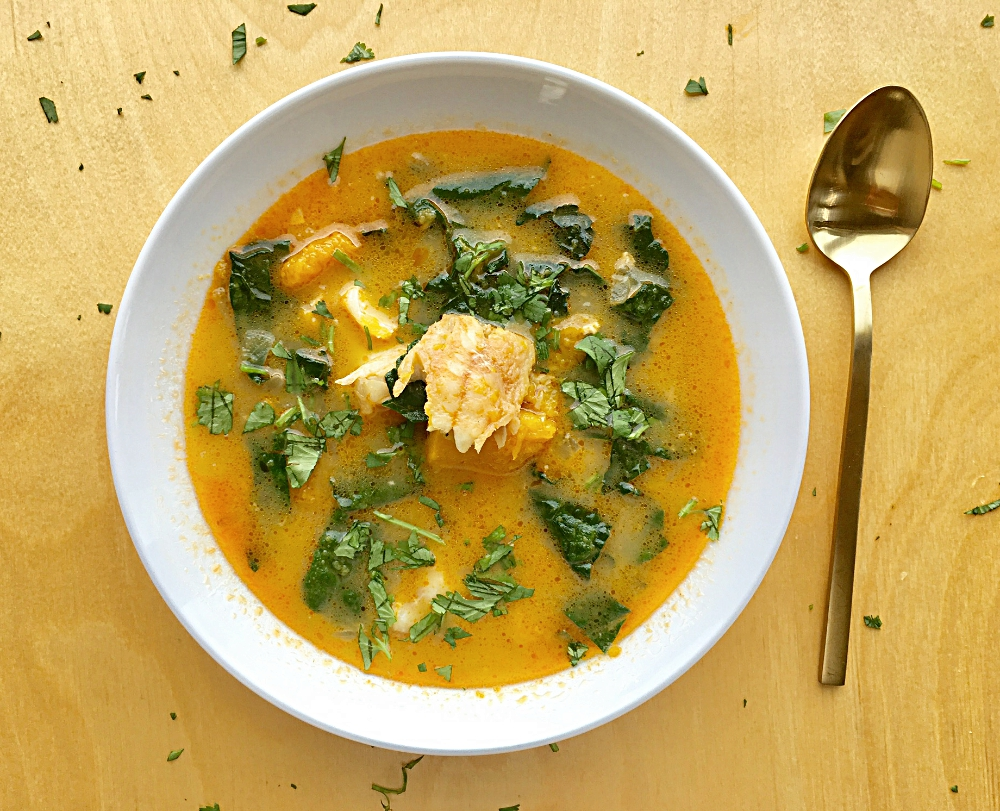 Curried Cod Chowder with Kale and Buttercup Squash