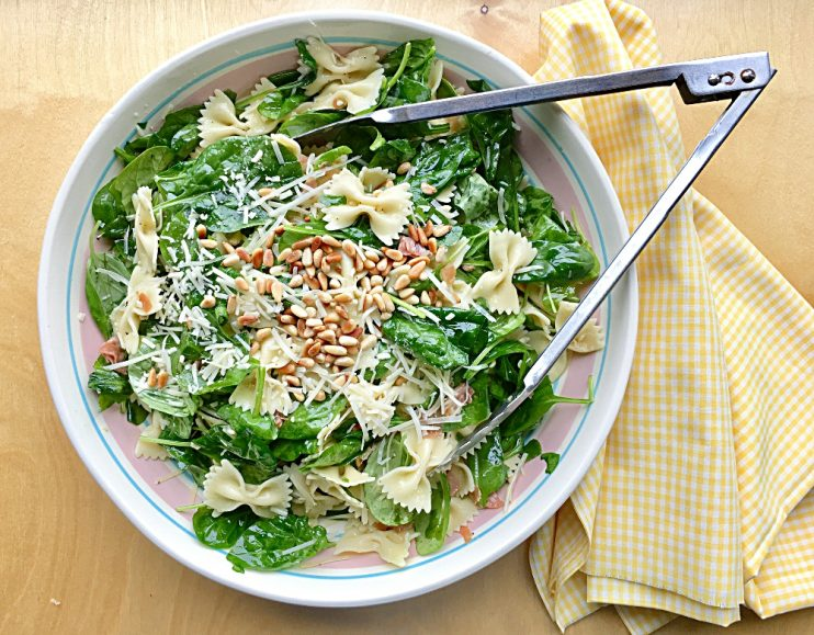 Bow-tie Pasta Spinach & Basil Salad