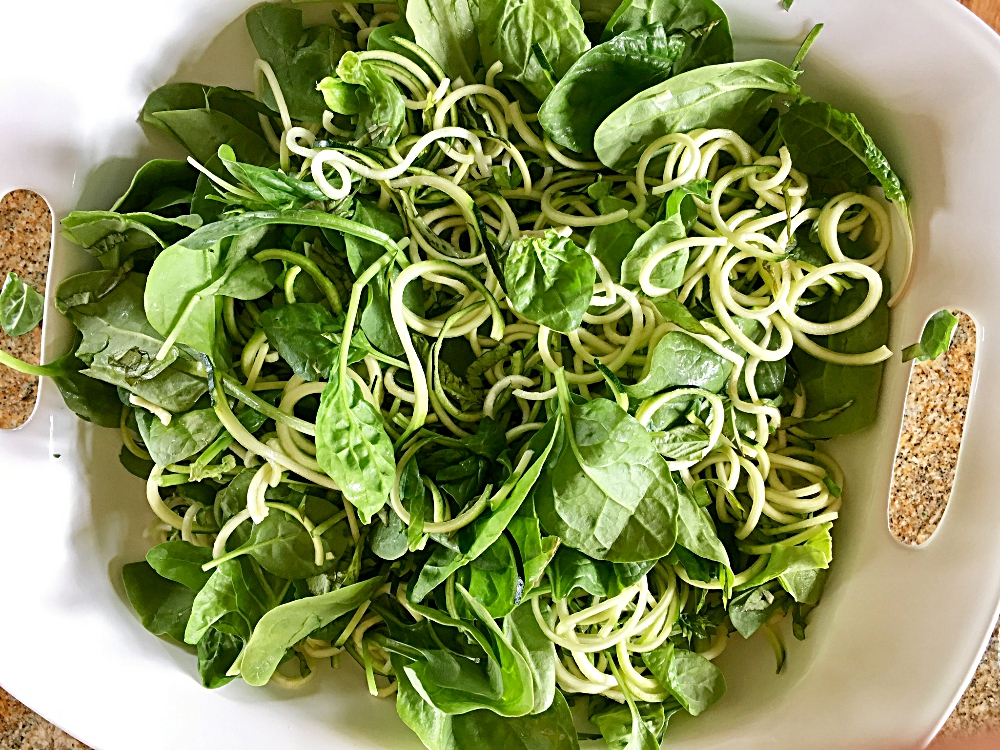 Spinach, Basil and Zucchini Noodle Salad