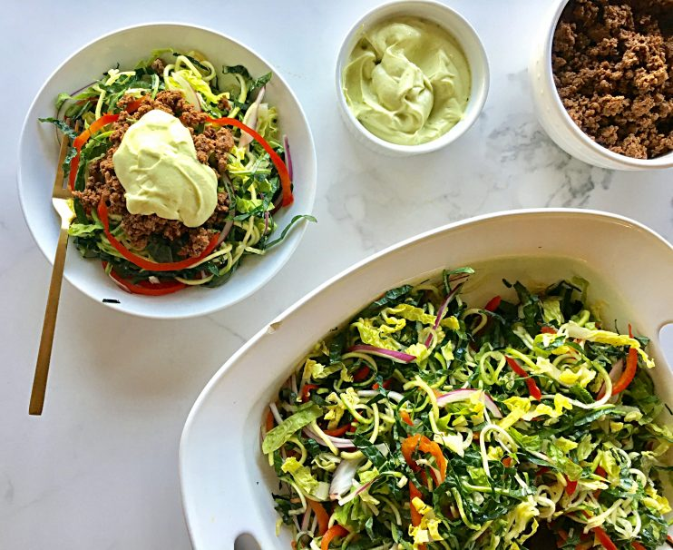 Bison Taco Salad with Avocado Cream Dressing