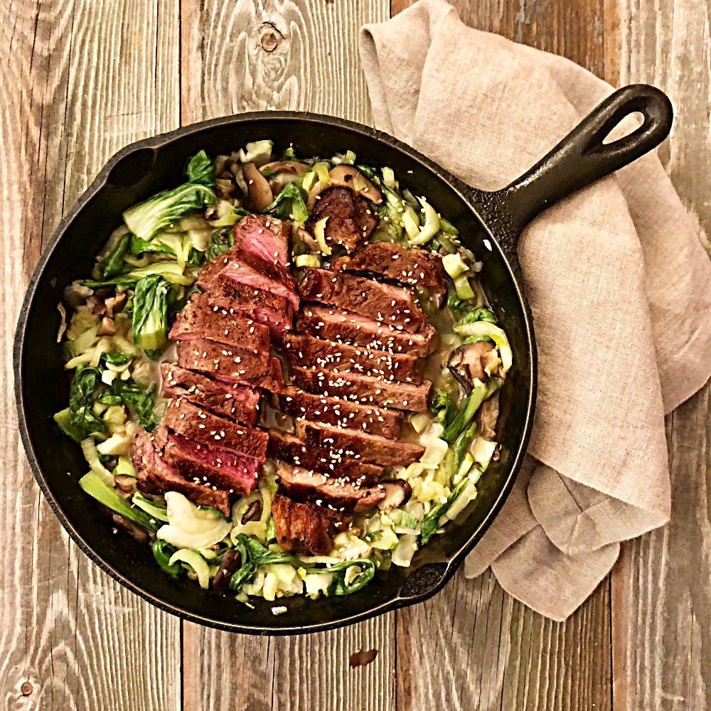 Steak and Bok Choy Asian Skillet Dinner
