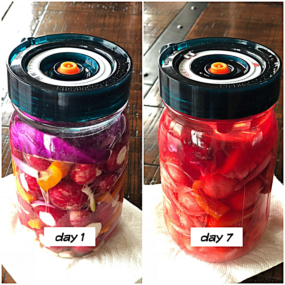 Pickling Naturally : Pink Pickled Radishes with Peppers