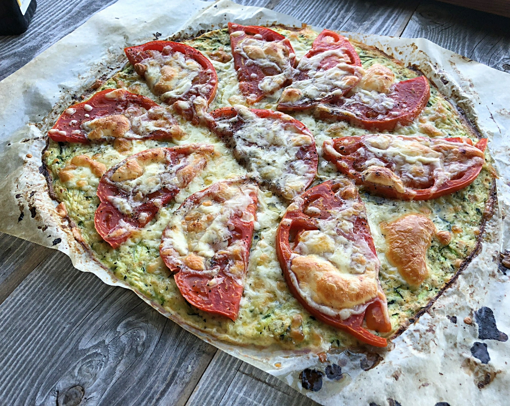 Delicious Zucchini Grain Free Pizza Crust with Arugula Salad